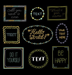 doodle frames with text - hand drawn vector image vector image