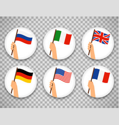 flag in hand circle icons set vector image