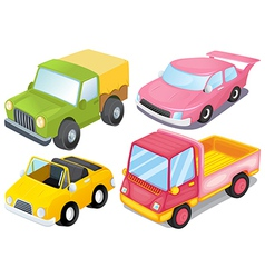 Four colorful vehicles vector image vector image