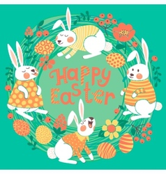Happy Easter card with cute bunnies and colored vector image vector image