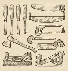 Woodworking and carpentry tools industrial vector