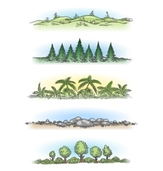 Colorful hand drawn landscapes with trees vector image vector image