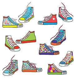 Set of sneakers with pattern funny vector image vector image