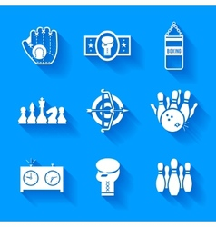 Set of white sports icons vector