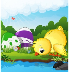 Chicken and Easter eggs near the creek vector image vector image