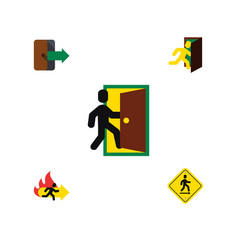 flat icon emergency set of evacuation open door vector image