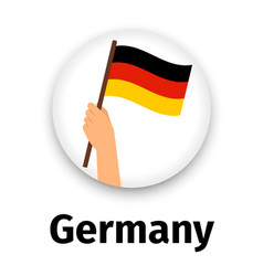 germany flag in hand round icon vector image vector image