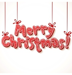 Ornate merry christmas red sign vector image