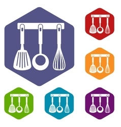 Spatula ladle and whisk kitchen tools icons set vector image vector image