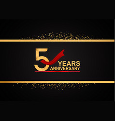 5 years anniversary logotype with golden color vector