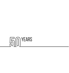 50 years anniversary or birthday linear outline vector image