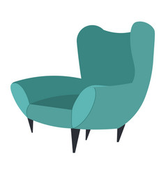 A cozy soft chair with high back and fabric vector