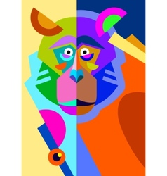 Abstract original monkey drawing in flat style vector