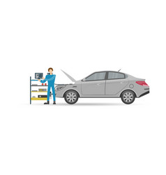 auto mechanics in uniform check engine icon vector image