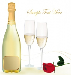 background with champagne with rose vector image