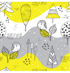beautiful hand drawn winter pattern vector image
