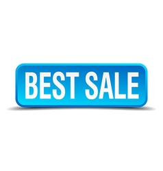 Best sale blue 3d realistic square isolated button vector