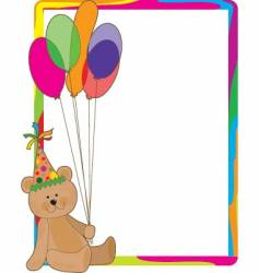 birthday bear border vector image vector image