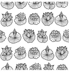 Black and white lineart waterlily-lotus pads vector