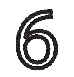 black and white number six made from rope vector image