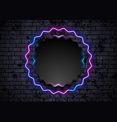 blue purple neon wavy circle on grunge brick wall vector image