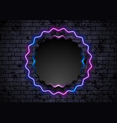 blue purple neon wavy circle on grunge brick wall vector image
