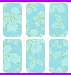 blue tags with flowers vector image
