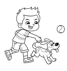 boy playing with his pet dog bw vector image
