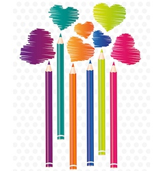 Brightly colored pencils background with heart sha vector
