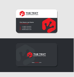 business card with an froggy hand in red hexagon vector image