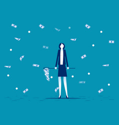 businesswoman catch money business financial and vector image