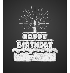 Cake with a candle and happy birthday text vector