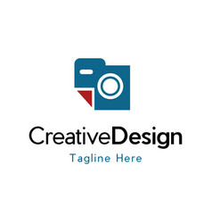 camera pixel icon business modern logo vector image