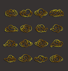 chinese clouds icon set vector image