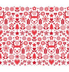 christmas cute scandinavian folk pattern vector image