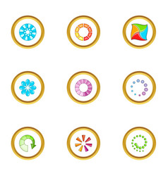 Circular downloading icons set cartoon style vector