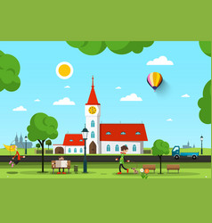 City park with church and people - vector