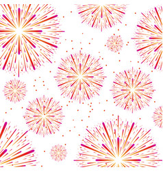 colorful fireworks on white vector image