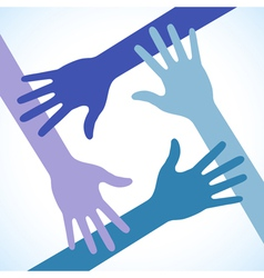 Colorful Four Hands Icon vector image