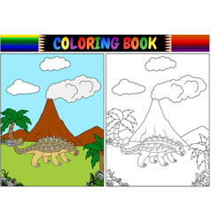 coloring book with ankylosaurs cartoon vector image