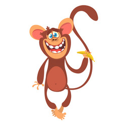 Cute cartoon monkey character vector