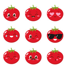 Cute happy red tomato character vector