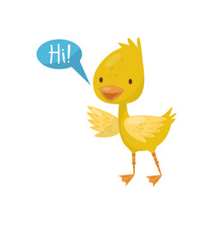 Cute little yellow duckling character saying hi vector