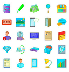 desk icons set cartoon style vector image