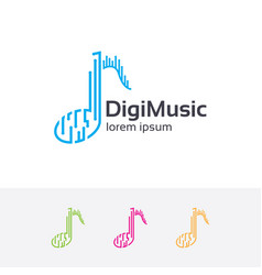 digital music logo design vector image