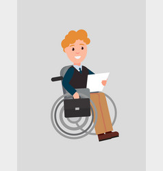 Disabled man reading paper vector