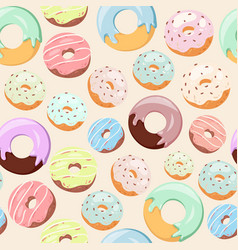 Donuts with pink icing glazing and sprinkles vector
