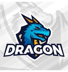 Dragon on shield sport mascot concept Football or vector