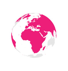 Earth globe with pink world map focused on africa vector