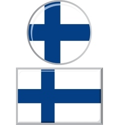 Finnish round and square icon flag vector image